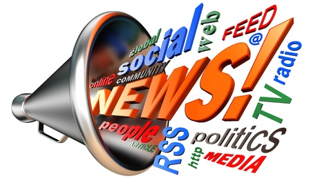 bullhorn: news word tag cloud and metal bullhorn on white background Stock Photo