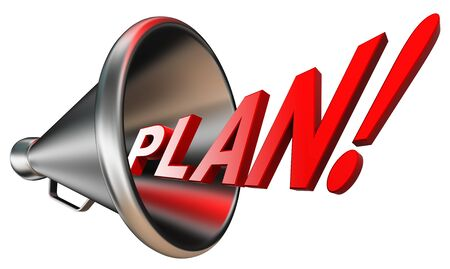 plan red word in megaphone isolated on white background. clipping path included photo