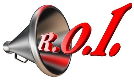 retour: roi rood woord in megafoon return on investment concept geïsoleerd op witte achtergrond. het knippen inbegrepen weg