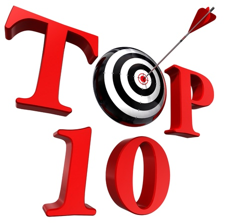 top ten red word with target and arrow on white background. clipping path included photo