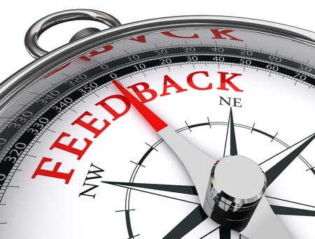 feedback icon: feedback red word on conceptual compass on white background Stock Photo