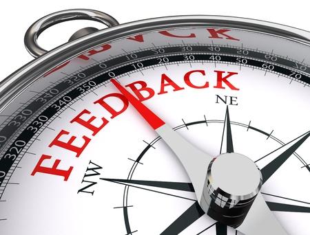 web survey: retroalimentaci�n rojo palabra de br�jula conceptual sobre fondo blanco Foto de archivo