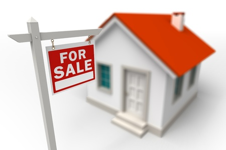 illustration for advertising: Home For Sale Real Estate red sign in front of a 3d model house Stock Photo