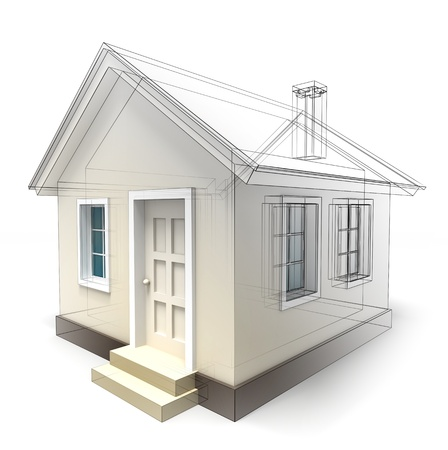 exterior element: house design sketch on white background. clipping path included