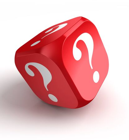 red dice with question mark on white background photo