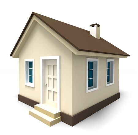 small house in brown colours on white background. clipping path included Stock Photo - 18035881