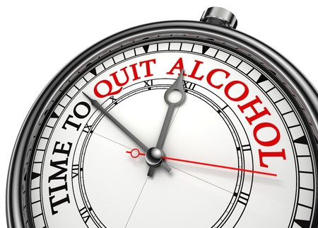 bad plan: time to quit drinking alcohol concept clock on white background with red and black words