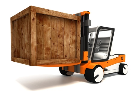 lift truck: fork lifter and wooden crate on white background. clipping path included