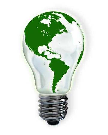 global innovation: light bulb with green north and south america map on white background
