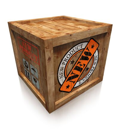 new product stamp sign on wooden box crate on white background. clipping path included photo