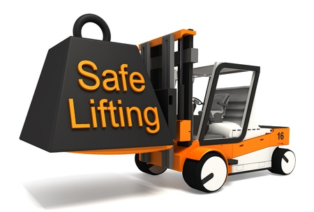 safe lifting sign weight on fork lifter on white background photo