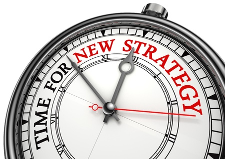 new strategy: time for new strategy concept clock on white background with red and black words Stock Photo