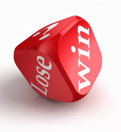 games of chance: win lose question mark red dice on white background