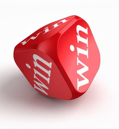 ganar: ganar dados rojos sobre fondo blanco