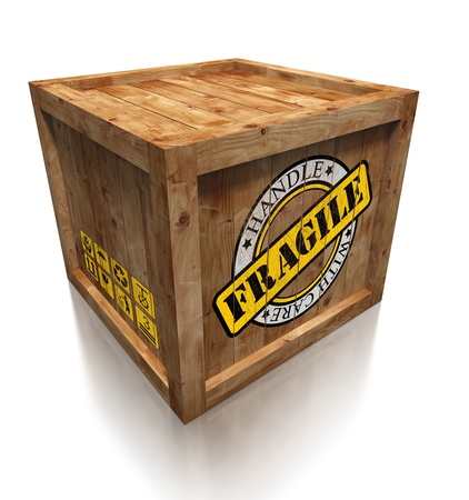 crates: wooden box crate with grunge fragile symbol on white background. clipping path included