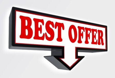 best offer red and black arrow sign on white background. clipping path included Stock Photo - 18711984