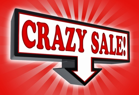 cheap: crazy sale red and black arrow sign on red background. clipping path included Stock Photo