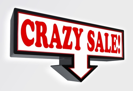 crazy sale red and black arrow sign on white background. clipping path included photo
