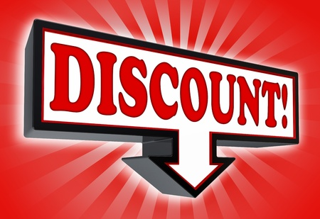 discount red and black arrow sign on red background. clipping path included photo