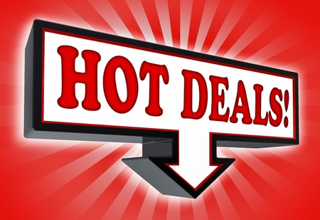 hot deals red and black arrow sign on red background. clipping path included Stock Photo - 18711993