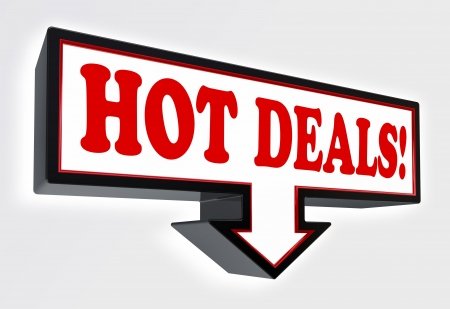 cheap: hot deals red and black arrow sign on white background. clipping path included