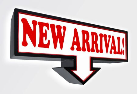 new arrival red and black arrow sign on white background. clipping path included Stock Photo - 18711987