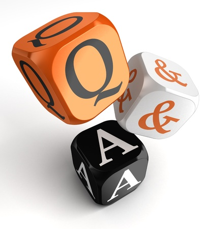 questions and answers orange black dice blocks on white background. clipping path included photo