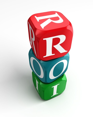return on investment on red, green and blue dice. clipping path included
