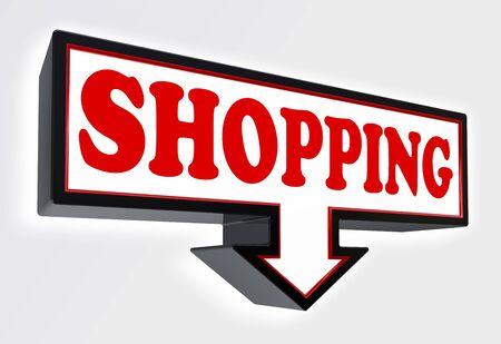 shopping red and black arrow sign on white background. clipping path included Stock Photo - 18711981