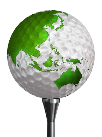 australia and asia green continent on golf ball and tee isolated on white backgound. clipping path included photo