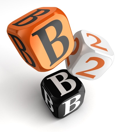 business to business orange black dice blocks on white background. clipping path included Stock Photo