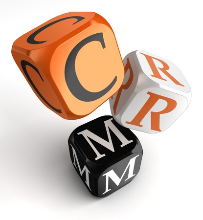 crm: Customer Relationship Management orange black dice blocks on white background. clipping path included