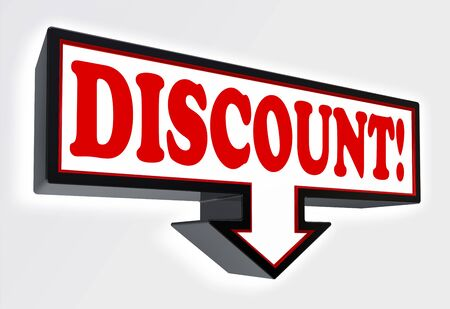 discount sign with arrow down and per cent symbol red and black on white background. clipping path included Stock Photo - 19022367