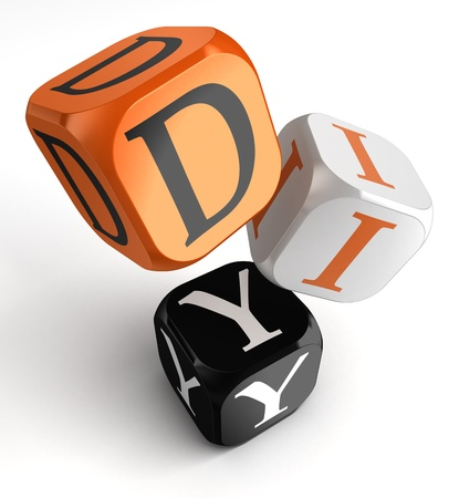 Do it yourself orange black dice blocks on white background. clipping path included photo