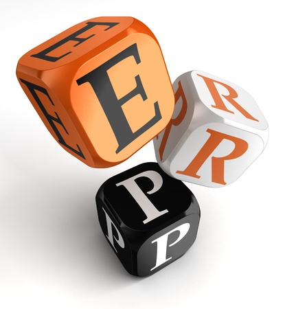 Enterprise Resource Planning System orange black dice blocks on white background. clipping path included Stock Photo