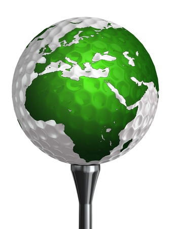 europe and africa continent on golf ball isolated on white background. clipping path included photo