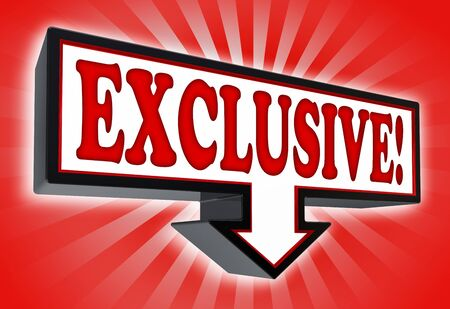 exclusive icon: exclusive sign with arrow down red and black on red striped background. clipping path included  Stock Photo