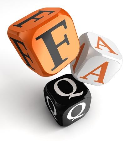Faq orange black dice blocks on white background. clipping path included Stock Photo - 19022382