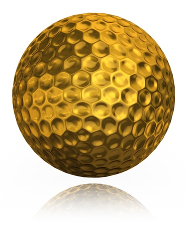 play golf: golden golf ball on white background. clipping path included