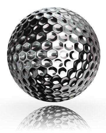 3d ball: golf ball silver metal on white background. clipping path included