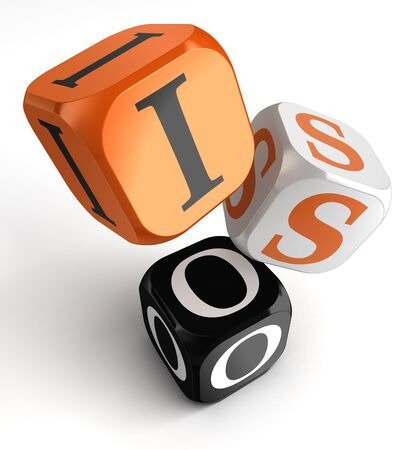Iso orange black dice blocks on white background. clipping path included