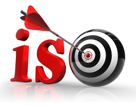 iso red word with target on white background. clipping path included Stock Photo