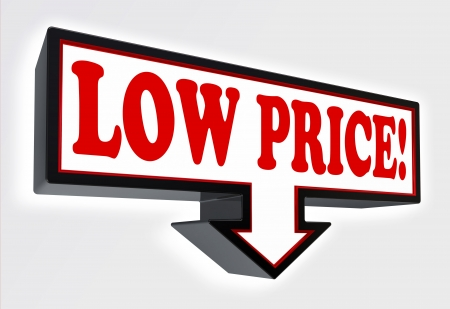 low price sign with arrow down red and black on white background. clipping path included Stock Photo - 19022366