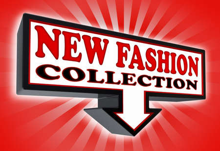 new fashion collection sign with arrow down red and black on red striped background. clipping path included  photo
