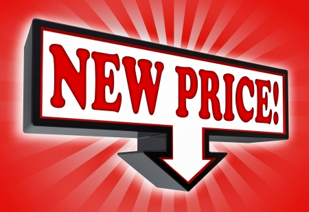 new price sign with arrow down red and black on red striped background. clipping path included Stock Photo - 19022428