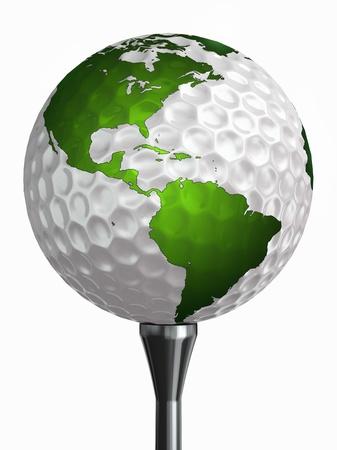 mapa conceptual: Norte y Sur Am�rica en la pelota de golf y tee aislado en el camino blanco backgound recorte incluido