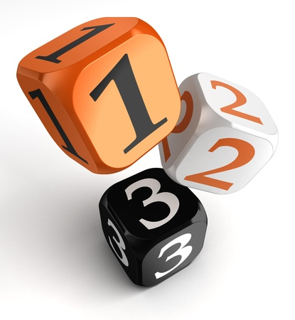 three orange: one, two and three numbers on orange black dice blocks on white background  clipping path included Stock Photo