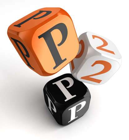 P2p orange black dice blocks on white background  clipping path included photo