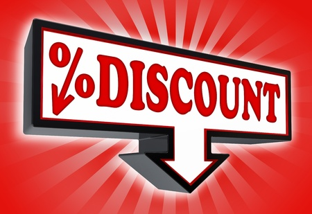 cent: discount sign with arrow down and per cent symbol red and black on red striped background  clipping path included