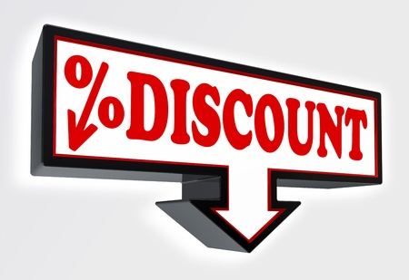 discount sign with arrow down and per cent symbol red and black on white background  clipping path included Stock Photo - 19022369